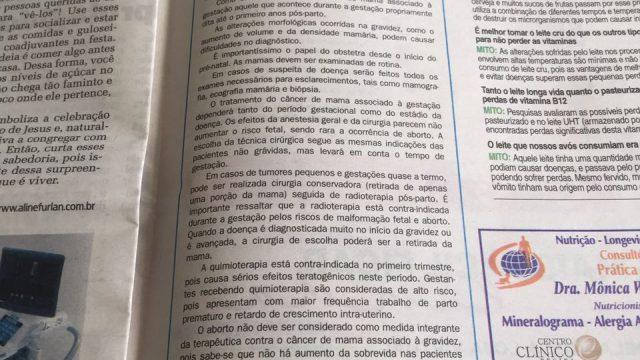 Publicação no Jornal NH – Câncer de mama e gestação